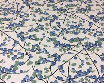 Tablecloth with blueberries, white blue table decoration, Scandinavian design,blueberry table runner