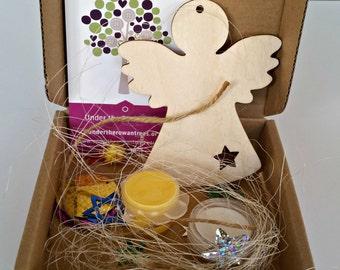 Angel Decoration Kit, Children's craft kit, kids activity kit, Christmas craft, stocking filler, secret santa, glitter