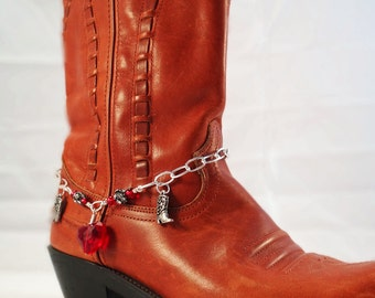 Red & Silver boot bracelet, Red heart cowgirl boot bracelet, Western boot jewelry, Cowboy boot bling, Boot bling, Valentine boot bracelet