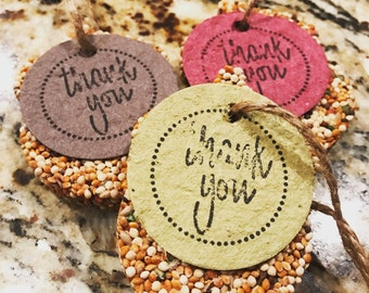 50 Bird Seed Favors -- Biodegradable-- Seed Paper Tags