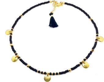 Beaded Choker Necklace, Charm Choker Necklace, Seed Bead Choker Beaded Wrap Bracelet Bohemian Choker, Thin Choker Necklace, Gift for her