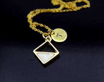 Gold Opal Rhombus Charm Necklace, Geometric Rhombus Charm, Opal Pendant, Rhombus Charm Necklace, Geometric Necklace, Personalized Necklace