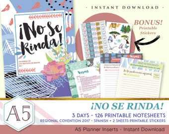 Spanish - No Se Rinda -3 days Regional Convention 2017 Notebook + Stickers - INSTANT DOWNLOAD  - 126 printable pages