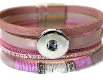 SNAP jewelry! 18-20mm Snap button bracelet wide multi color pink or grey + magnetic closure / / gift women fashion