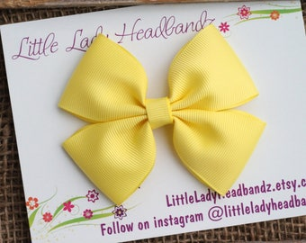 Yellow Bow Boutique Bow Yellow hair bow girls ribbon bow large bow