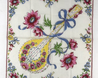 Vintage Handkerchief-Ukulele With Flowers And Bows-Beautiful Blues, Pinks, and Yellows