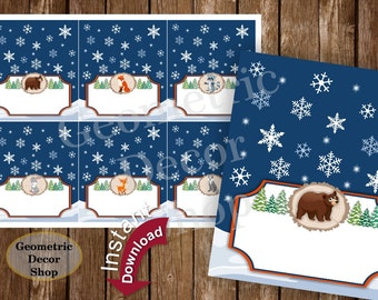 Food Tent Labels Winter Onederland Birthday Buffet Name Dinner Lumberjack Woodland Instant Download Bear fox timber wolf Deer Raccoon FTW2