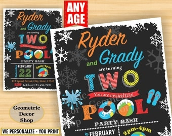 Twins Pool Party Invitation Bash Birthday Invite Girl Boy Swimming Water Slide Blue Red Winter Chalkboard Swim joint combined dual double 10