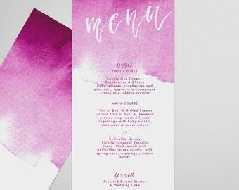 Pink Menu . Brushed . Printable Menu, Printable Wedding Reception, Party Menu, DIY Printable, Print at Home Menu