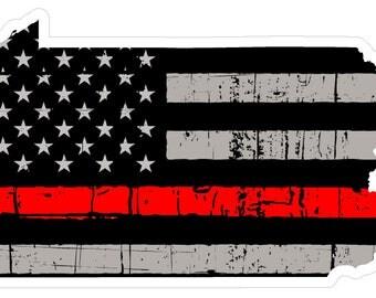Pennsylvania State (C39) Thin Red Line Vinyl Decal Sticker Car/Truck Laptop/Netbook Window