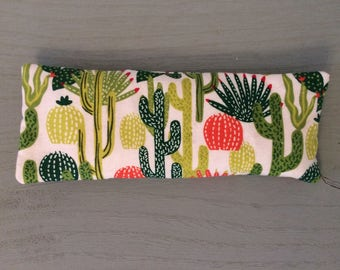Desert Cactus Aromatherapy Microwave Eye Pillow, Hot and Cold Pack, Sleep mask, Flaxseed Pillow, Natural Healing, Lavender Pillow, Heat Pack