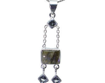 Labradorite, Blue Topaz Pendant, 925 Sterling Silver, Unique only 1 piece available! color blue, weight 5g, #25777