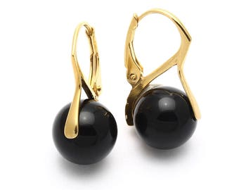 Black Onyx Earrings, 925 Sterling Silver, Unique only 1 piece available! weight 4.4g, #45675