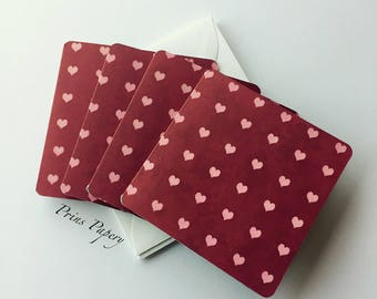 Red  Mini Note Cards Set with Pink Hearts 4