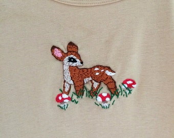 Fawn & Toadstools hand-embroidered top