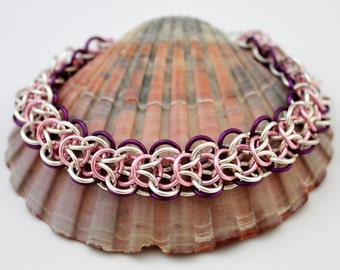 Silver Plated Chainmaille Bracelet, Pink Bracelet, Purple Bracelet, Silver Bracelet,  Chain Mail Bracelet, Chainmail Bracelet
