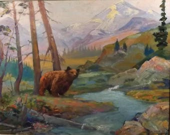 Bear in gorgeous 1936 Vintage Western mountain landscape Rockies ? signed Quinn