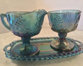 Vintage Indiana Glass Co, Blue Harvest Collection Carnival Iridiscent Sugar Bowl, Creamer Set & Holding Tray. Discontinued Circa 1960-1970's