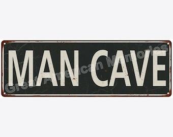 Man Cave White on Black Vintage Look Metal Sign 6x18 6180658