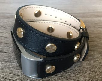 Classic Black Double Wrapped Eco Friendly Leather Bracelet For Fitbit Charge 2 With Gold Rivets Handmade Replacement Fitbit Charge 2 Band