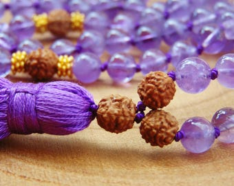 Amethyst and Rudralsha Mala beads,Amethyst Mala 108,Sacred Rudraksha Mala Necklace,Yoga Jewelry,108 Mala beads,108 Prayer Beads