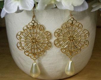 Pearl, Brass Filigree Earrings