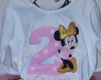 Pink Gold Minnie Mouse 2nd Birthday Onesie T Shirt Personalized Baby Girl Little Toddler