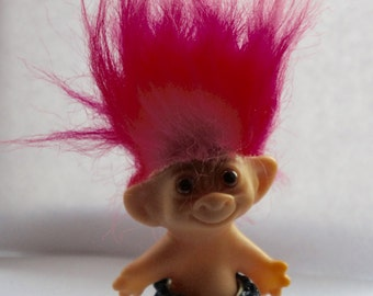 Vintage 1980s 3 Inch Uneeda Doll Co Inc Pink Hair Troll Doll In Jeans, Collectible, Gift For Sister, Friend, Daughter, Girlfriend