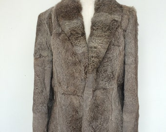 SALE! Rabbit Fur Jacket. 70s/80s Rabbit Fur Bomber Style Jacket. 70s Fur Coat. Gray Fur Coat. Short Fur Coat. Rabbit Fur Coat, Small.