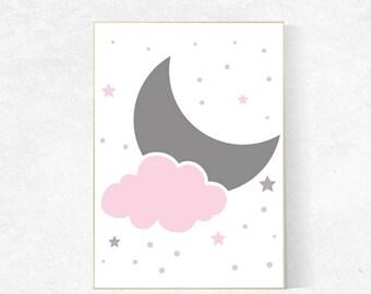 Pink Gray Nursery Decor, Moon nursery art, Moon And Stars Nursery Prints, Baby Girl Prints, baby girl nursery nursery art prints for nursery