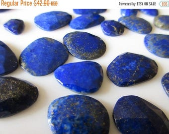 ON SALE 50% 5pcs Natural AAA Lapis Lazuli Rose Cut Cabochon, Blue Rose Cut Lapis Lazuli Faceted Flat Back Gemstones Cabochon 12-20mm, Sku-Rc