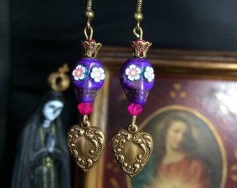 Earrings skull purple mexicana and sacred heart