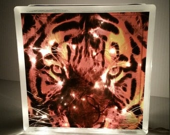 Tiger Hand Crafted Glass Block with Lights