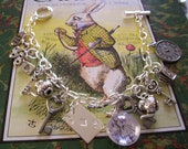 Alice in Wonderland Charm Bracelet Wonderland Charms Silver Plated One Book Extract Charm Gift for Her Ladies Literary Jewelry Boxed