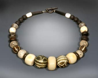 Tribal Bead and Ancient Stone Necklace