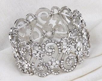Bridal Bracelet, Rhinestone Wedding Bracelet, Crystal Bracelet, Stretch Bracelet, Wedding Jewelry, Bridesmaid Bracelet, Bridal Jewelry Bride