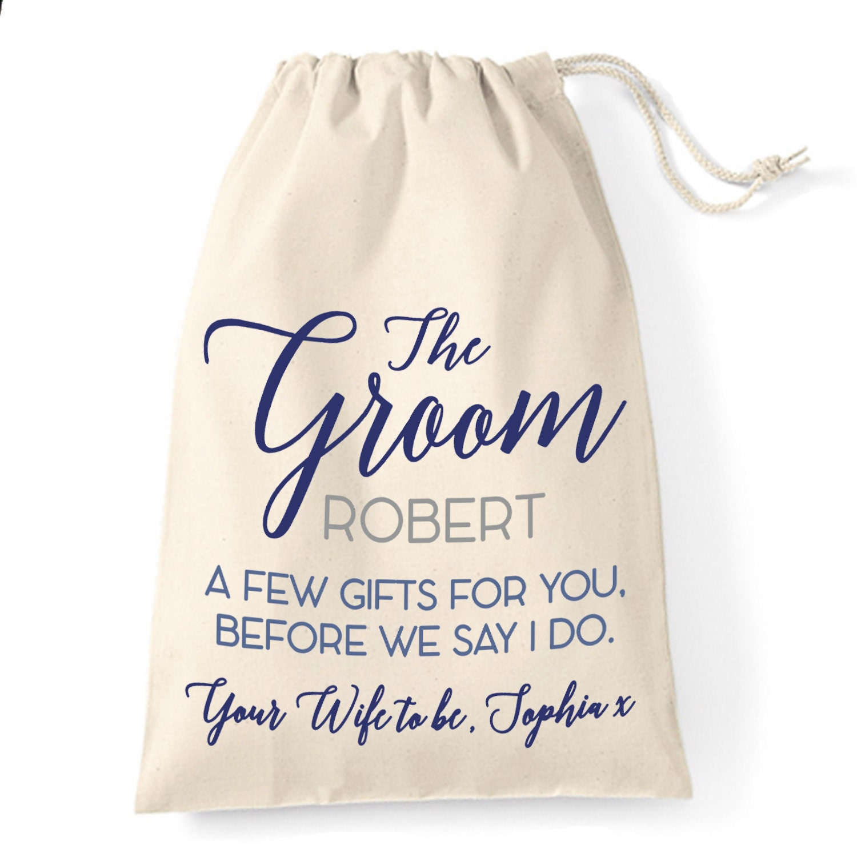 Wedding Day Gift To Husband: Gift Bag For The Groom. Wedding Day Cotton Gift Bag
