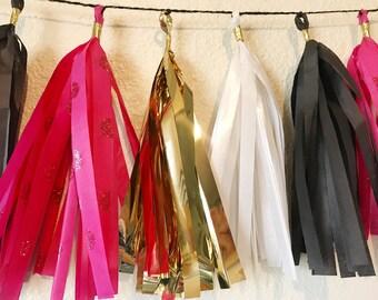 Tassel Garland | pink, white, gold, and black tassel garland | spade theme | bridal shower | birthday | bachelorette | party decorations