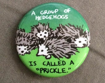"""1.25"""" Button - """"A Group of Hedgehogs is Called a 'Prickle'"""""""