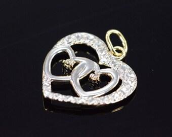 10k Interlocking Heart Diamond Pendant Gold