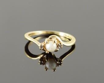 10k 3.5mm Pearl Genuine Diamond Kid's Child's Ring Gold