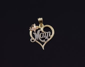 10k Mom Cursive Letter Heart Butterfly Accent Charm/Pendant Gold