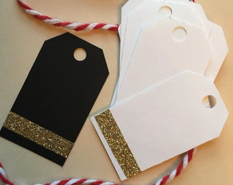 White or black glitter gift tag, favor tag, jar tag, label, with Washi Tape