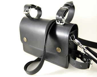 Leather bike bag, black leather bag, biker bag, version with strap holes