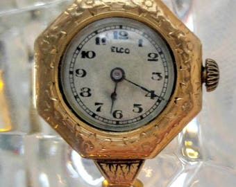 BEAUTIFUL Gold Vintage Watch-12K Gold Filled-Elco/Gemex-Works-Womens/Ladies-All Orders Only .99c Shipping!!