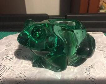 Indiana Glass Green Frog Votive Holder (A2)