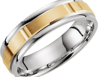 14K Two Tone Wedding Band With Yellow and White Gold 6mm Wide Grooved Men's Ring Custom Made Size 9 to 15