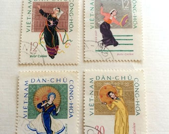 Postage stams North Vietnam  1962 Folk-dancing