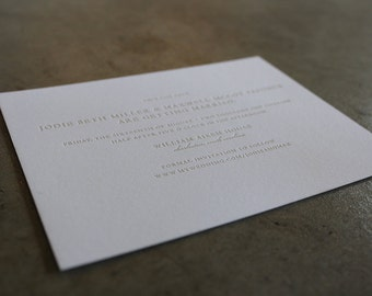 Simple Type letterpress Save the Date Cards with envelopes