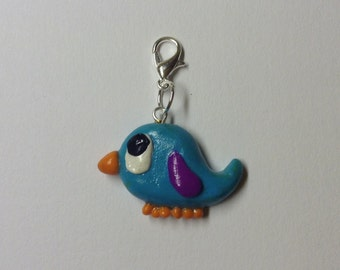 SALE Polymer Clay Blue and Purple Bird Charm